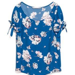 Zara trf Blue Floral Ribbon Blouse